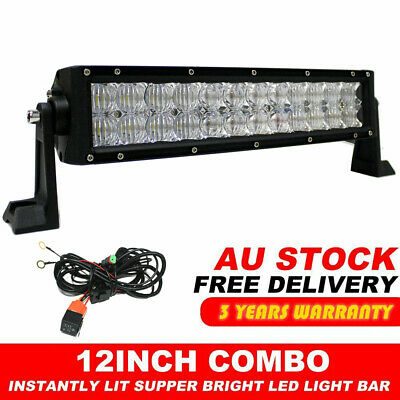 12inch 240W LED Light Bar Work SPOT FLOOD Combo CREE 4WD CAR ATV + Wiring Kit