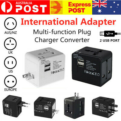 NEW Universal Travel Adapter Plug with 2 USB Ports Charger Converter UK/US/AU/EU