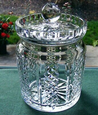 "Beautiful Waterford Crystal ""Hibernia"" 7"" Biscuit Barrel With Lid"