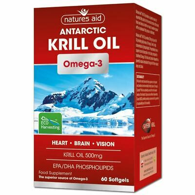 Natures Aid Antarctic Krill Oil Omega-3 60 Softgels New