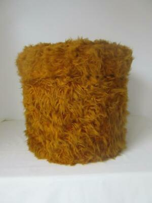 Vintage Retro 60'S/70'S French Large Mustard Yellow Fluffy Foot Stool/ Storage