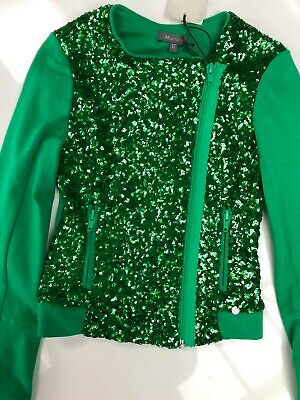 BNWT Miss Grant Girls Green Sequined Jacket Age 6-7 years