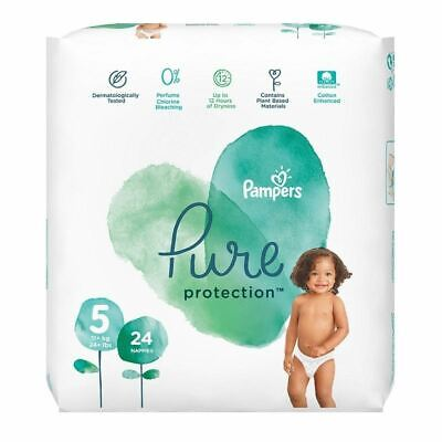 Pampers Pure Protection Size 5 Nappies 24s New