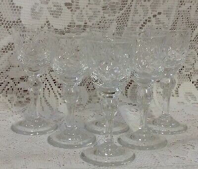 "Vintage, Six Quality Cut Crystal Glass Long Stem Liqueurs. 4"" Tall"