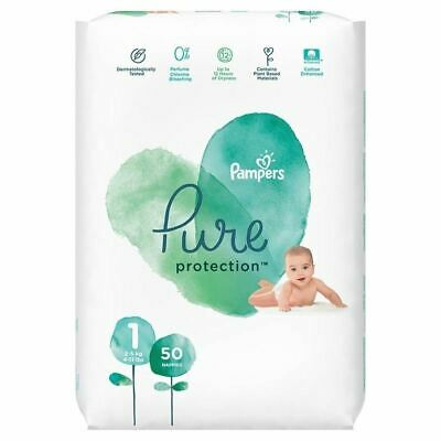 Pampers 50 Nappies Pure Protection Size 1 New