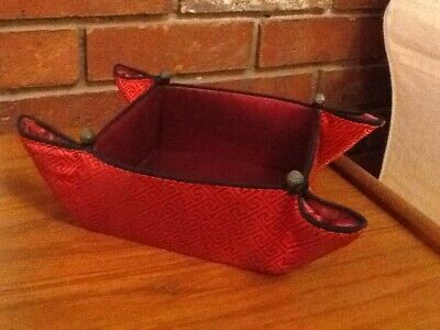 Lovely Red/Black Chinese Silk Square Collapsible Storage Tray Basket