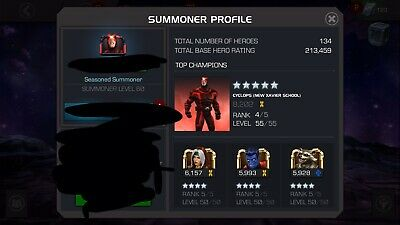 Seasoned Sumner Account Marvel Contest Of Champions MCOC Transferable Email