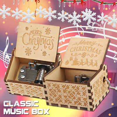 Hand Crank Engraved Wooden Music Box Queen Kids Xmas  Engraved Snow Kid Gift