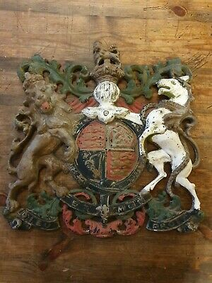 Antique Large Cast Iron English Coat Of Arms