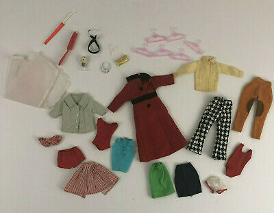 Vintage Barbie Mod Era 1960s Clothing Lot and Accessories Metal Snaps Hangers