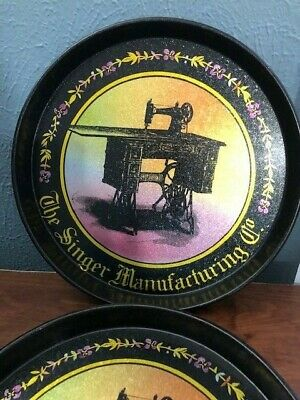 The Singer Manufacturing Co. Black Tin Wall Plates/Trays - Pair