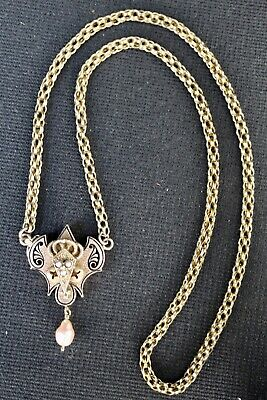Striking Victorian 14K Gold Etruscan Revival Pendant with and Belcher Chain