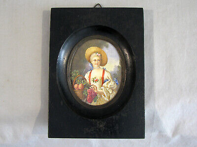 Antique FRENCH MINIATURE WATERCOLOR PAINTING - PRETTY LADY