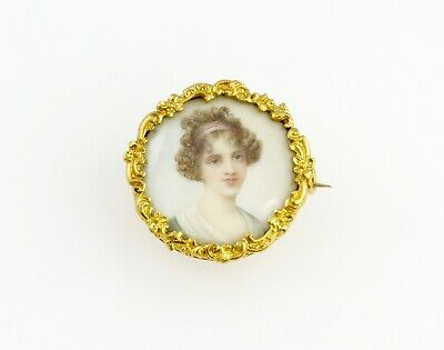 Antique Victorian 18Ct Gold French Portrait Brooch