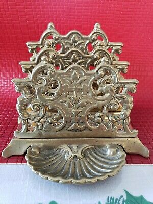 ORNATE VTG Brass Footed LETTERS HOLDER w/ PIN TRAY - French Art Nouveau GRIFFINS