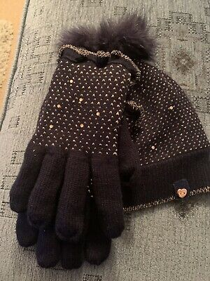 Ted baker Girls Hat Gloves Set - Navy / Rose Gold