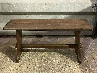 Antique solid dark oak rustic hall bench settle pew with pinned joints 4ft long
