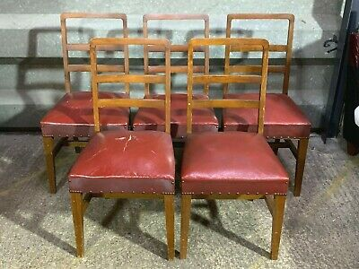 Set of 5x art deco 1930s beech wood dining chairs with rexine upholstery antique