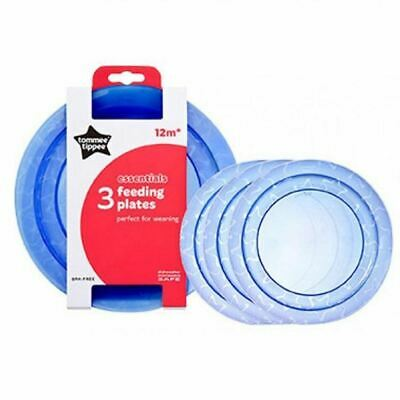 Tommee Tippee Essential 3 Feeding Plates 12m+ BLUE New