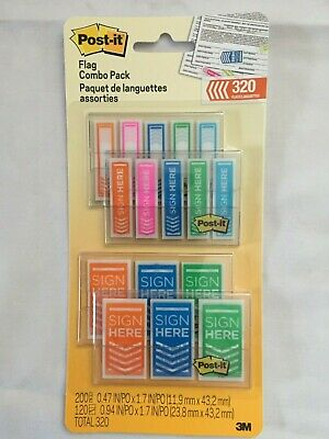 3M POST-IT FLAGS,  320 Count, Sign Here Flag Combo Pack Assorted Sizes