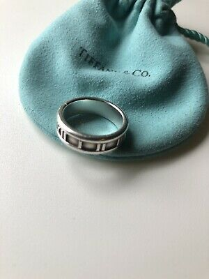 Retired Tiffany & Co. Atlas Ring Wide Band in 925 Sterling Silver Size 7