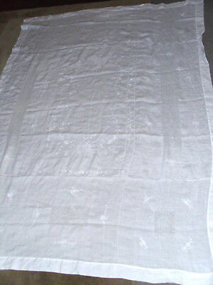 "Large Antique Swiss Appenzell Linen White Tablecloth 62"" x  85"""