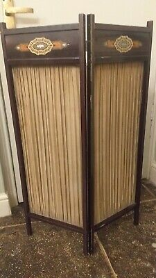Antique Two Fold Inlaid ,Pleated Silk Fire Screen