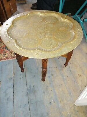 Antique Fold Up Benares Heavy Engraved Brass Topped Mahogany Carved Table