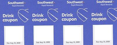 Four 4X Southwest Airlines Drink  Voucher Coupons Exp 12/31/19 Fast Shipping