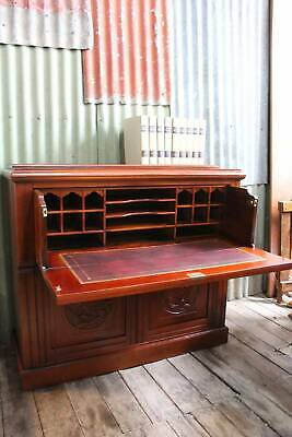 A Victorian Fall Front Drawer Bureau Desk with Leather Inset & Lovely Carvings