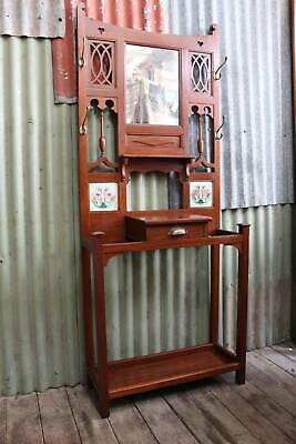 An Arts & Crafts Cedar Hall Stand with Mirror