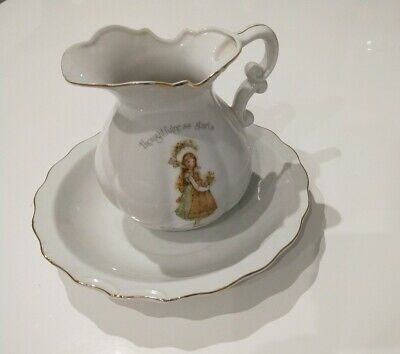 1974 Holly Hobbie LARGE jug & bowl thoughtfulness starts in a warm loving heart