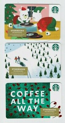 STARBUCKS Gift Card Holiday 2019 Christmas - LOT of 3 Cards - Collectible Empty