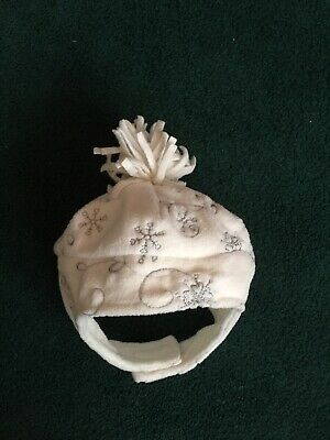 Baby Winter Hat. White With Silver Decoration. Mothercare. 3-6 Months 8kg