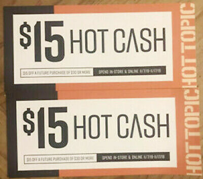 2 Hot Topic Store Hot Cash $15 of $30 USD Jan 16 - 26 2020 Physical Coupons Ship