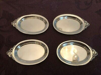 4 Beautiful Webster Sterling Silver Butter Pats Dishes No Mono  pattern WSC4