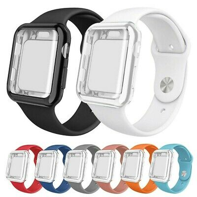 For Apple Watch Series 5 4 3 Silicone Sport Band +Full Body Protector Case Cover