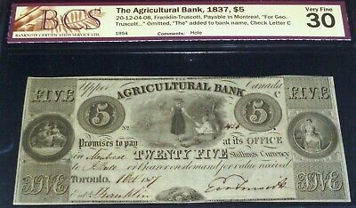 Canada ,Agricultural Bank 1837, $5