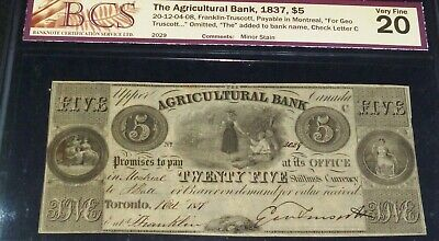 Canada ,Agricultural Bank 1837, $5 Serial # 2029
