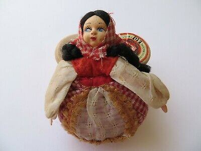 'Handpainted European Lady in Costume' Antique Sewing Pincushion -8.8cm tall