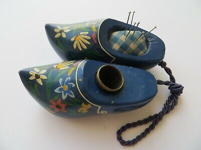 'Handpainted Flowers' Dutch Clogs Antique Sewing Pincushion & Thimble-Pair