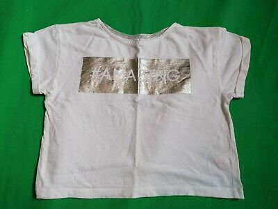 Girls 7 - 8 Years #amazing White Silver Cropped Crop Tshirt Top Great Condition