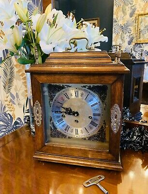 Oak cased Westminster chime Bracket clock by  Franz Hermle and Sons Circa 1930