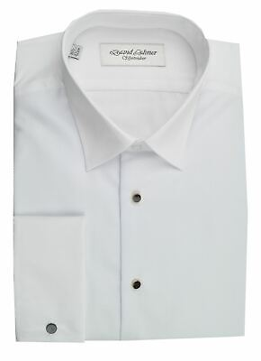 David Latimer Mens Marcella Front Standard Collar Dress Shirt in White