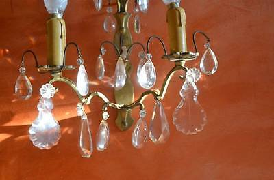 Pair of heavy antique bronze French wall sconces, cut glass prisms