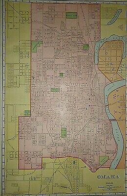 Vintage 1909 OMAHA, NEBRASKA Old Original Folio Size Atlas Map ~ Quick N Free