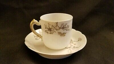 Haviland Limoges H&Co L Antique Floral Blue & Gold Demitasse Cup & Saucer Set