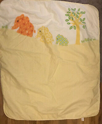 "Mothercare Lemon Bed Cover With Elephants 50.5""x 43"""