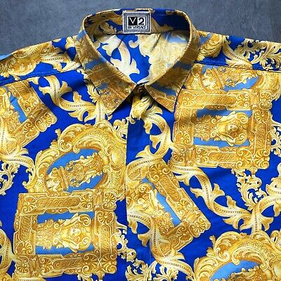 V2 by VERSACE blue & gold silk shirt Baroque Frames print size IV/L from 1995