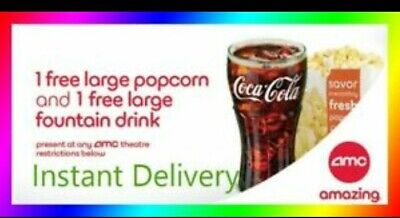 AMC Theaters - 1 Large Popcorn + 1 Large Drink- Expires 6/30/20 instant delivery